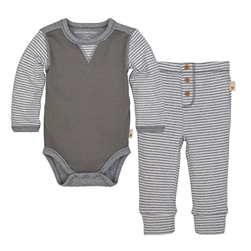 Burt's Bees Baby Baby Organic Long Sleeve Bodysuit and Pant Set, Charcoal Classic Stripe, 3-6 Months