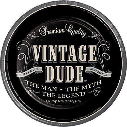 Vintage Dude Dessert Plates, 24 ct -