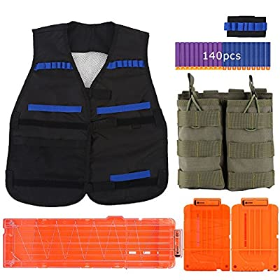 Elite Tactical Vest Kit– Black Vest+Wristband+Double Magazine Pouch+3 Reload Clips+140pcs Bullets for CS Field Nerf Gun Game