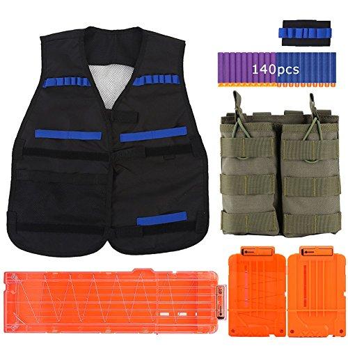 Gilet Tactique Gilet-Gilet Noir + Bracelet + Double Magazine Pouch + 3 Recharger Clips + 140pcs Bullets pour CS Field Nerf Elite Toy Gun Game