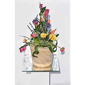 Colourful Tulips Roses & Allium Rustic Wooden Vase Arrangement 1