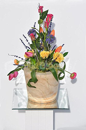 Colourful-Tulips-Roses-Allium-Rustic-Wooden-Vase-Arrangement