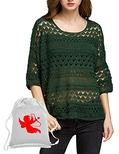 YUNY Women's 3/4 Sleeve Pure Color Knit Loose Hollow Out Sexy Sweater Pattern1 OS