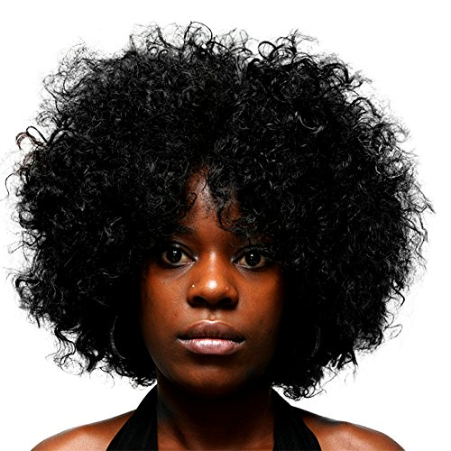 CosHouse Costume Wigs 12 Inch Black Synthetic Afro Curly Wig for Women, Men, (Coshouse Costumes)