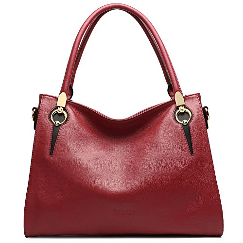 CLEARANCE CALLAGHAN Women's Genuine Leather Top Handle Handbags Large Capacity Tote Purse Shoulder Bags Crossbody Bag Red Top Grade Genuine Leather