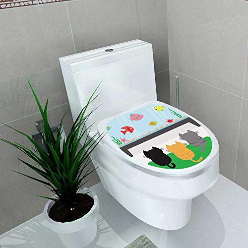 (Auraise-home Bathroom Toilet seat Sticker Decal Three Kittens on Carpet Looking to Big Aquarium with Fish Pet Animal Collection Cute Coon Funny Decal Sticker Vinyl W8 x)