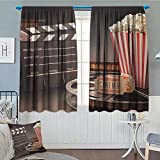 Anniutwo Movie Theater Window Curtain Fabric Old Fashion Entertainment Objects Related to Cinema Film Reel Motion Picture Drapes For Living Room 55'' W x 72'' L Multicolor