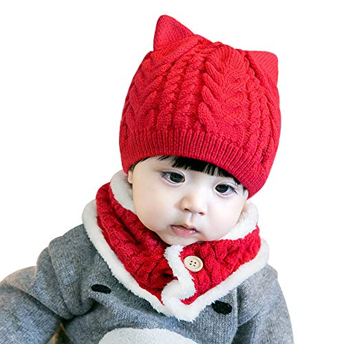(CoolKo Winter Keep Warm Knitted Beanie Set Autumn Scarf Neck Warmer + Beanie Hat Set for Toddlers 6 Months to 2 Years Old - [Red])