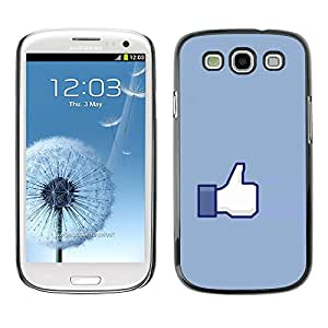 Paccase / SLIM PC / Aliminium Casa Carcasa Funda Case Cover para - Hand Sign Ok Thumb Up Blue Symbol Simple - Samsung Galaxy S3 I9300