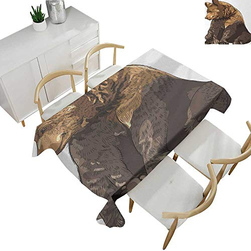 Bear,Tablecloth Rectangular Big and Cute Mammal Sitting Smiling Wildlife Beast Nature Inspired Cartoon Mascot Tablecloths for Sale Taupe Brown 60