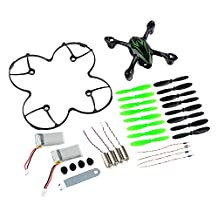 PeleusTech®Hubsan X4 H107C Quadcopter Spare Parts Crash Pack Body Shell + Spare Blades + Propeller Blade Guard + Motor + Battery + LED Lights + Rubber Feet + Wrench (Black and Green)