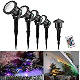 Underwater Spotlight with Remote Control, ONEVER 10W 4PCS RGB Led Submarine Lights IP68 Waterproof, 4 Lights Modes for Gardon Landscape Park Pond Fish Tank Aquarium Decoration, UK Plug
