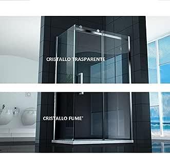 Mampara de ducha corredera 8 mm, apertura de 75 x 120 x 90 x 110 cristal transparente o fumè: Amazon.es: Bricolaje y herramientas