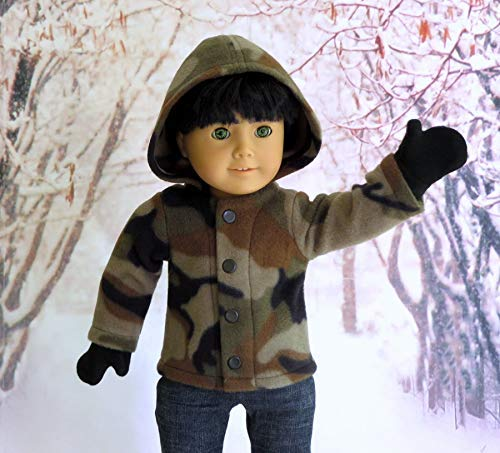 Boy Doll Clothes Camo Fleece Hoodie with Mittens handmade to fit 18 inch Dolls such as American Girl and Our Generation