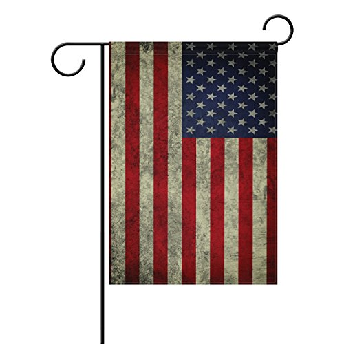 ALAZA 28×40 IN Polyester Garden Flag Vintage Usa American Flag Independence Day Memorial House Banner for Wedding Party Outside Garden Yard Double Sided Print Review