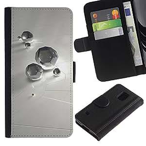 LASTONE PHONE CASE / Lujo Billetera de Cuero Caso del tirón Titular de la tarjeta Flip Carcasa Funda para Samsung Galaxy S5 V SM-G900 / Abstract Diamond