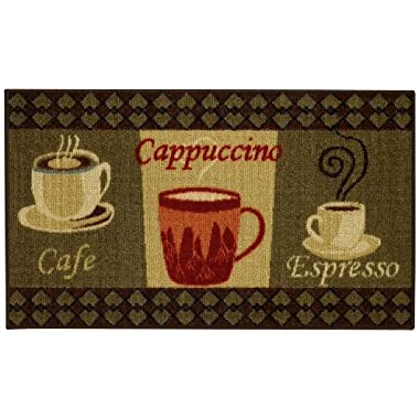 Anti-Bacterial Rubber Back Home and KITCHEN RUGS Non-Skid/Slip 18 x31  | Coffee Themed | Decorative Kitchen Rug Runner Door Mats Low Profile Modern Thin Indoor Floor Area Rugs for Kitchen