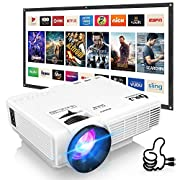 #LightningDeal DR. J Professional HI-04 Mini Projector Outdoor Movie Projector with 100Inch Projector Screen, 1080P Supported Compatible with TV Stick, Video Games, HDMI,USB,TF,VGA,AUX,AV [Latest Upgrade]