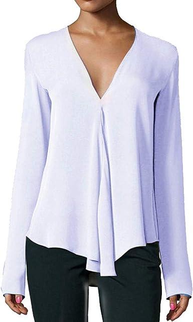 VJGOAL Mujeres Otoño Casual Moda Blusas de un Color Sólido V Cuello Tops Camisas de Manga Larga Pullover: Amazon.es: Ropa y accesorios