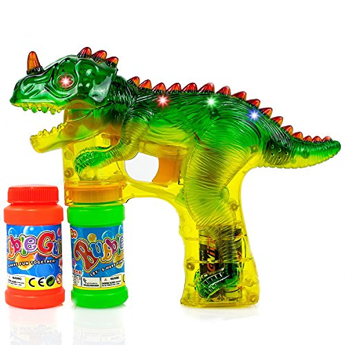 Dinosaur Bubble Gun Shooter with LED Lights, Sounds, Batteries, and 2 Bottles Solution -