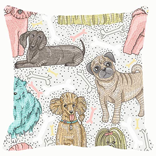 - cute seamless pattern little breed animals wildlife pattern Animals Wildlife backgrounds textures pattern Backgrounds Textures Decorative Pillow Case Home Decor Pillowcase (18x18 Inches) Colourful
