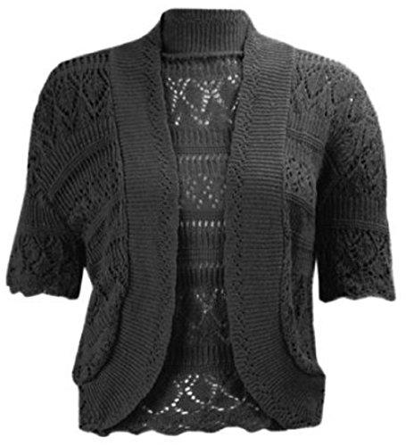 Las mujeres gorra Crochet de Punto Encogimiento De Hombros Bolero corto para mujer funda blanda de UK tamaño 8–�?6 marrón