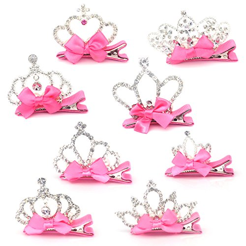 Elesa Miracle Baby Girl Toddler Kids Rhinestone Tiara Hair Clips in Gift Box (8pc-Pink Bow with Silver Crown), One ()