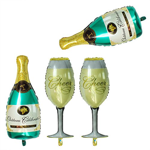 GOER 4 Pcs Champagne Bottle and Wine Goblet Glass Foil Balloons,40 inch Helium Balloons for Birthday Bridal Shower Bachelorette New Years Eve Festival Celebrations Party Supplies -