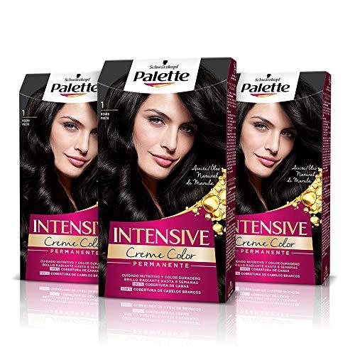 🥇 Palette Intense Cream Coloration Intensive Coloración del Cabello 1 Negro – Pack de 3