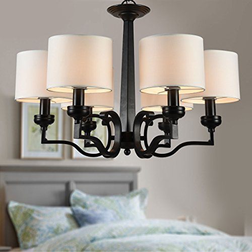 (6-Light Black Wrought Iron Chandelier with Cloth Shades (A-2017-6))