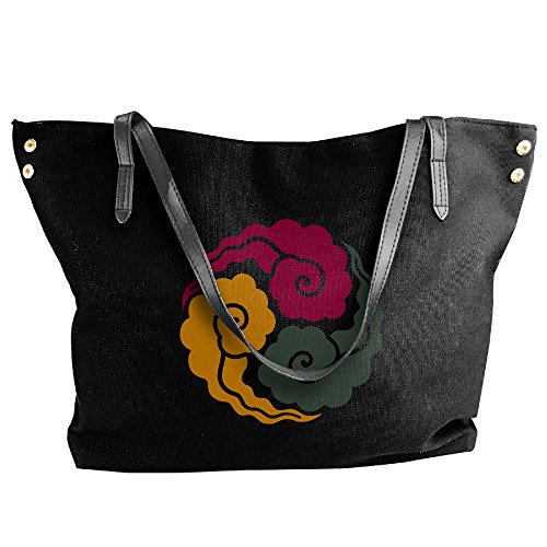 WOAILOVE Chinese Clouds Women's Canvas Fashion Tote Purse Handbag Black (Skateboard Vacuum Bag compare prices)