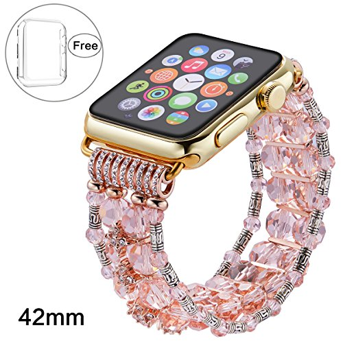 Pintaik for Apple Watch Band 38mm 42mm, 2018 New Fashion Crystal Beaded Elastic Bracelet Women Girl Bands and Case for Iwatch Series 3/2/1 Luxury Bling Watch Strap and Case Gift Idea