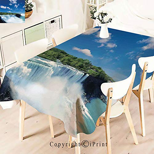 (Modern Decor Tablecloth, Niagara Waterfalls Flowing Fastly Dreamy Wild,Graphic Fusion Artwork, Dining Room Kitchen Rectangular Table Cover,W55 xL71,Blue White)