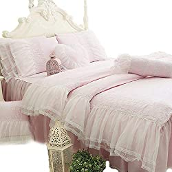 KEPSWET 100% Cotton Pink Lace Bedding Set Full Girl Bedroom 4-Piece Princess Ruffle Duvet Cover Sets