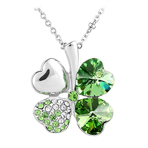 4 Four Leaf Clover Pendant (Le Premium® Four Leaf Clover Pendant Necklace Heart Shaped SWAROVSKI Peridot Green Crystals)