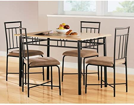 Amazon Com Mainstays 5 Piece Wood And Metal Dining Set Natural