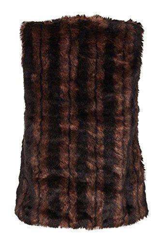Striped Faux Mela Gilet Brown Fur fPWWqZvpg