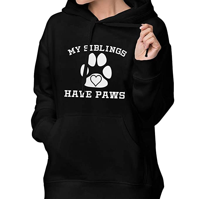 My Siblings Have Paws Hooded Pullover Sweatshirt with Pocket for Women