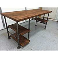 Reclaimed Wood Desk Table - Rustic Solid Oak W/28 Black Iron Pipe legs.