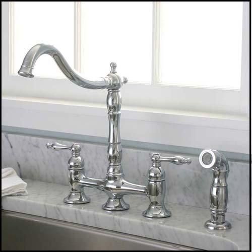 Bridge Faucet Kitchen Handle Two (Premier 120344 Charlestown Two-Handle Bridge Kitchen Faucet with Matching Spray, Chrome)
