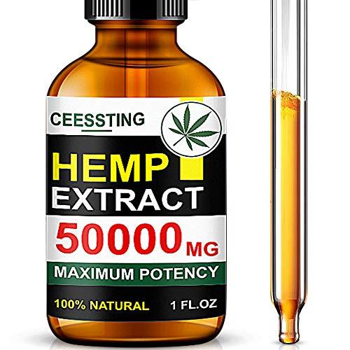 Envisha Hemp Oil for Pain & Stress Relief - 50000mg of Organic Hemp Seed Extract - Rich in Vitamin & Omega - Natural Hemp Drops - Calm Sleep & Mood Support, Good for Skin (CS-0B)