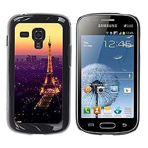 FECELL CITY // Duro Aluminio Pegatina PC Caso decorativo Funda Carcasa de Protección para Samsung Galaxy S Duos S7562 // Tour De Purple Tower Paris Vibrant