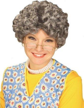 Forum Novelties Women's Yo Momma Curly Costume Wig, Gray, On