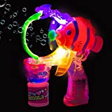 Light up Fish Bubble Gun Shooter with Music for Kids | Includes 2 Bubble Solutions | Batteries Included