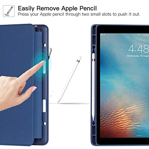 Ztotop Case for iPad Pro 12.9 with Pencil Holder, Secure Magnetic Stand Folio Case with Auto Wake/Sleep,Adjustable Angle Viewing,Soft Silicone Back Cover for Apple iPad 12.9-Inch 2017/2015, Navy Blue