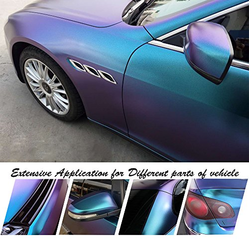 "VINYL FROG Chameleon Vinyl Wrap Matte Metallic Vehicle Film Purple to Blue Stretchable Air Release DIY Decals 11.8""x60"""