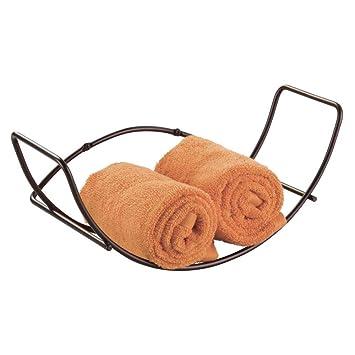 mDesign Toallero en color bronce - Estanteria de baño metálica ideal para toallas - Baldas para