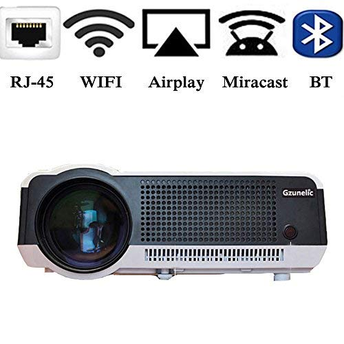 Theater No Lens Projector (Gzunelic 4500 lumens Android Wifi 1080p Video Projector LCD LED Full HD Theater Proyector with Bluetooth Wireless Synchronize to Smart Phone by Airplay or Miracast Ideal for Home Entertainment)