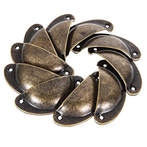 Capri Cabinet Pull (Geekercity Set of 10pcs Vintage Decorative Door Drawer Pull Handle Iron Semicircle Knobs Retro Metal Kitchen Cabinet Furniture Hardware Cupboard Antique Brass Shell Pulls (Bronze))