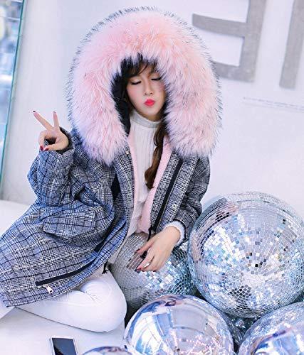 Velluto Scozzese Invernale Xwh Da Lungo Pelliccia Cappotto Con Più Collo Cotone Rosa In Spesso Donna Agnello aSqza0FT